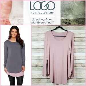 LOGO Layers Shirt Tail Hem Tunic Top